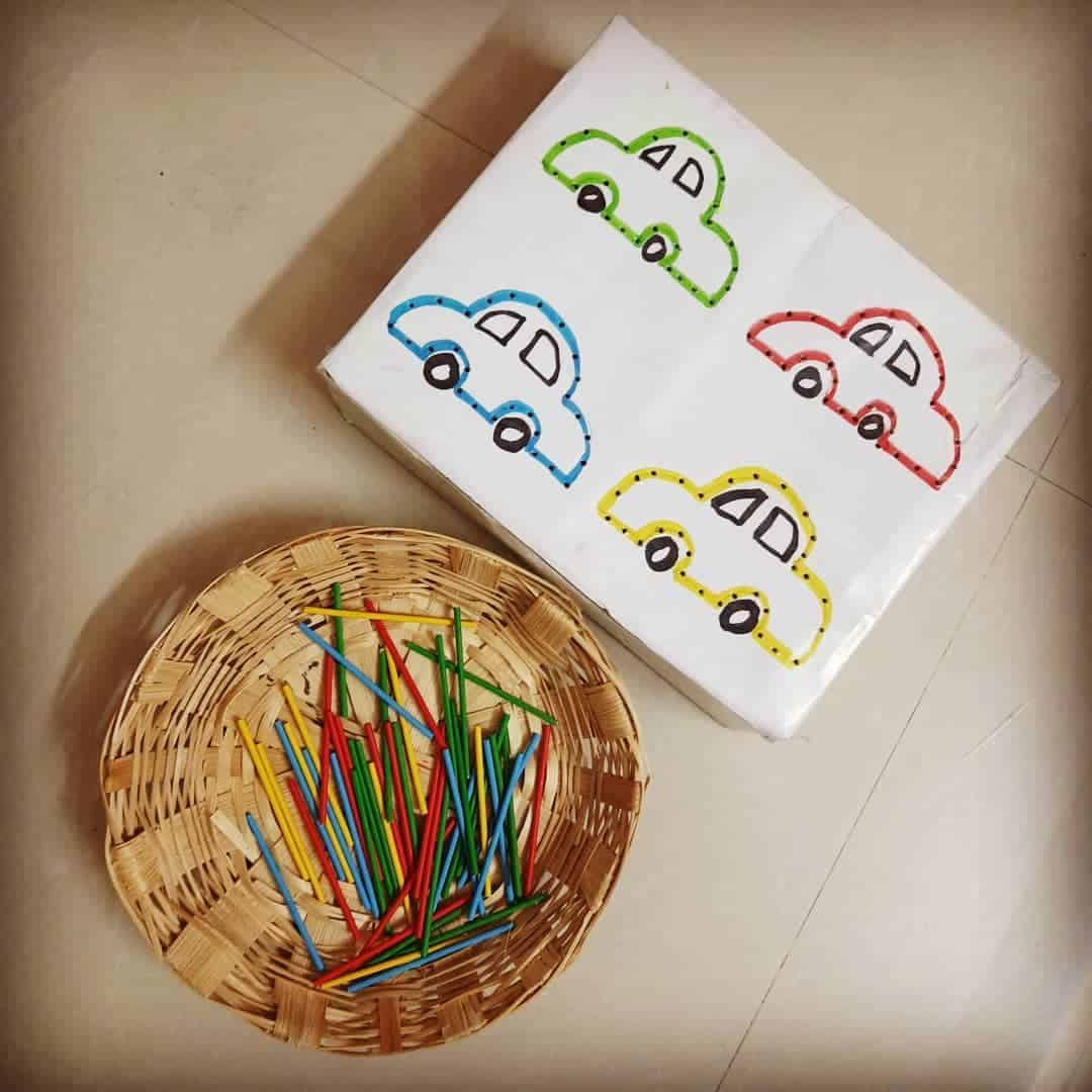Car and Craft stick activity for Letter C