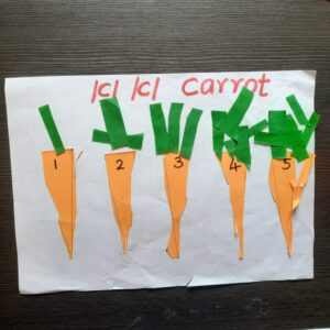 Count, Cut and Paste Carrot craft